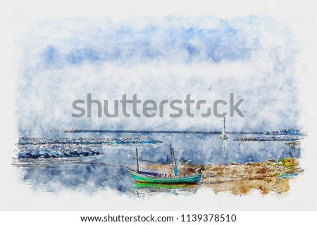 Watercolor of seascape. Scenery sea on watercolor painting.