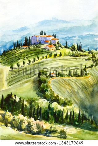 Toscana landscape. Watercolor illustration