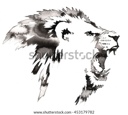 black and white painting with water and ink draw lion illustration