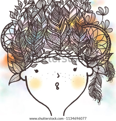 Cute girl with feather ,floral and dream catcher tribal style decoration on head. Hand drawn cartoon watercolor art style for wall printable art, printing design and greeting card design.