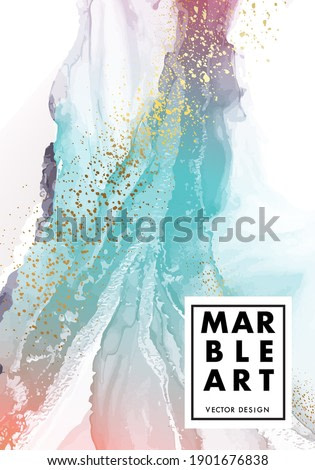 Watercolor pouring art abstract painting. Psychedelic fine art turquiose Minimalistic gradient. Vntage blue orange gouache ink Vector