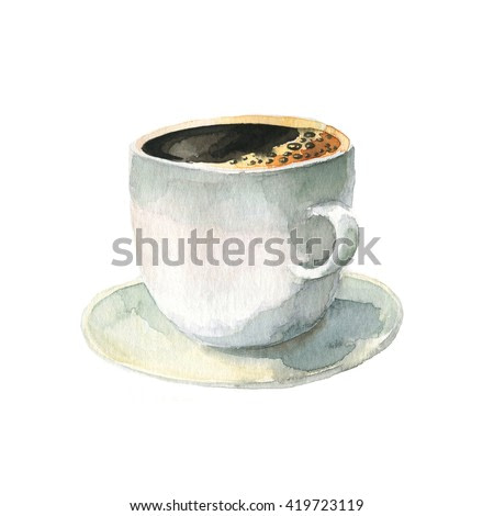 Hand drawn watercolor coffee cup