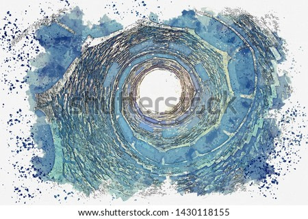 Watercolor sketch or illustration. Initiatic Well in Sintra in Portugal. Ancient underground tower with stone steps.