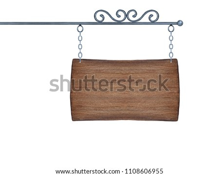 Old wooden outdoor sign with metal chain and decorative forging. Blank mockup for text and design, one single object. Hand painted watercolour graphic drawing on white background, cutout clip art.