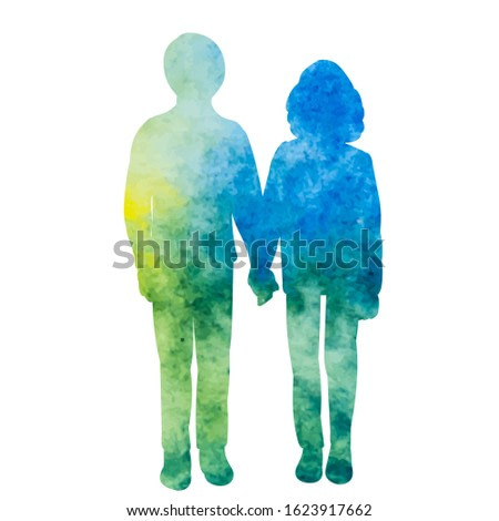 vector, isolated, blue watercolor silhouette of children