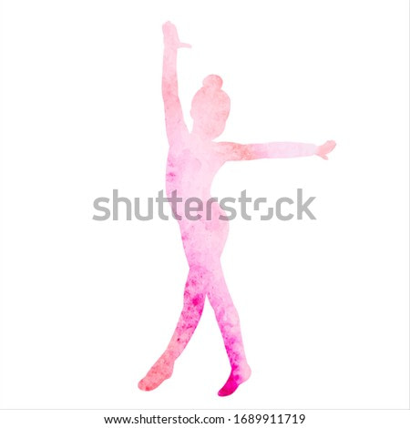 watercolor silhouette pink girl gymnast