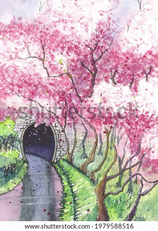 watercolor handmade drawing of cherry blossom near the tunnel