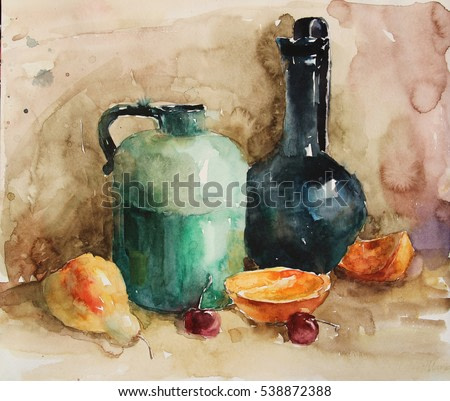 watercolor painting fruit and household items.