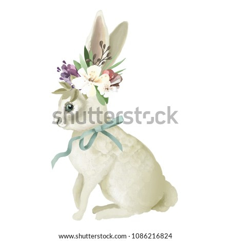 Cute bunny, hand painted oil textured white bunny with floral wreath, flowers bouquet and tied bow, isolated on white