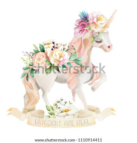 Beautiful, cute, watercolor dreaming unicorn, pegasus with flowers, floral crown, bouquet and ribbon with qoute isolated on white