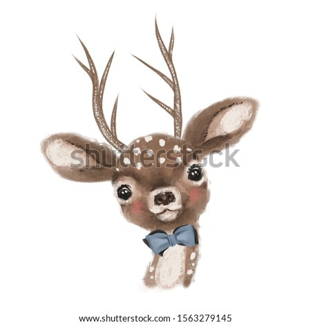Cute hand drawn deer, fawn with bow, woodland watercolor animal portrait