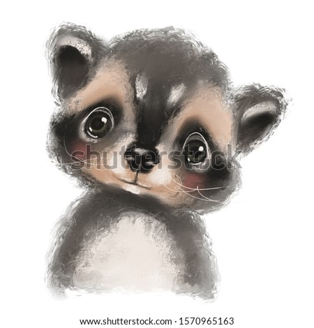 Cute hand drawn racoon, woodland watercolor animal portrait