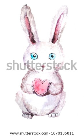 cute rabbit in a heart shape on a white background. watercolor illustration for print on a postcard buy