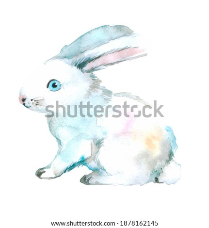 cute fluffy white bunny on a neutral background. watercolor animal illustration