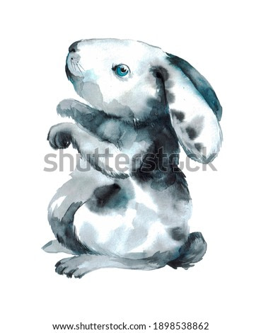 small gray bunny on a neutral background. watercolor animal illustration or pet print