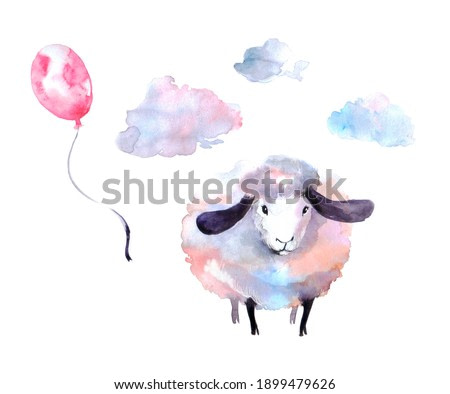 cute curly ram on a neutral background with clouds. baby watercolor illustration or print