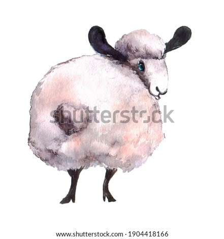cute cartoon lamb stands backwards on a neutral background. watercolor illustration or print for use in children's bedroom