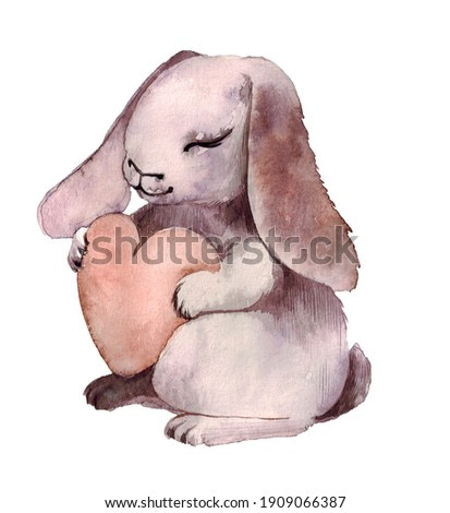 cute bunny with a heart for Valentine's Day on a neutral background. watercolor illustration, digital art or print