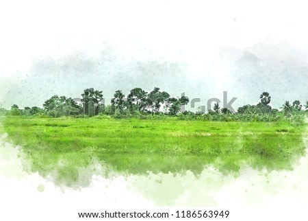 Abstract Colorful tree and field landscape on watercolor painting background.