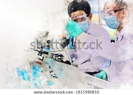 Abstract colorful young men scientist testing and checking in lab room on watercolor illustration painting background.