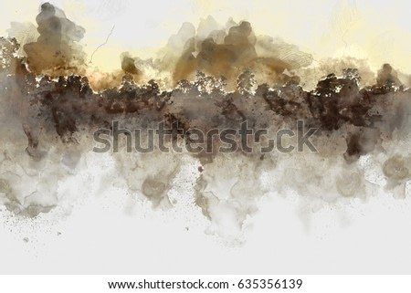 Abstract branch tree on watercolor background, Watercolor painting, branch tree