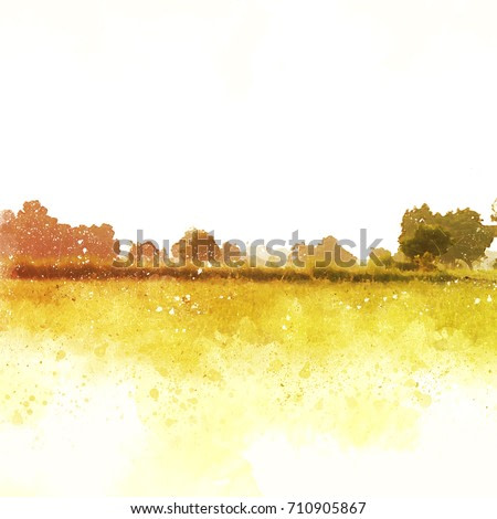 Abstract Colorful tree and landscape tree on watercolor painting background