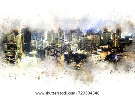 Abstract Building in the city at night on watercolor painting background. City on Digital illustration brush to art.