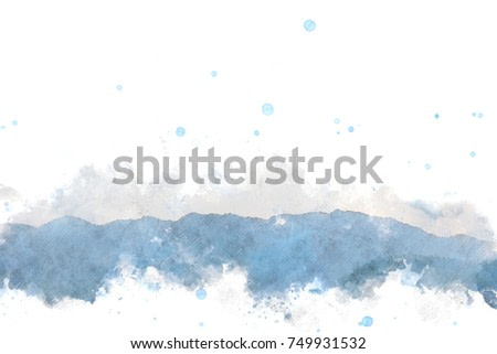 Abstract beautiful Colorful mountain peak on watercolor painting background.