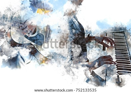 Abstract beautiful playing Guitar and piano in the foreground on Watercolor painting background and Digital illustration brush to art.
