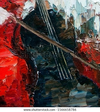 A girl, musician in a bright red dress plays a beautiful melody on the cello. Created in the expressive manner, palette knife technique of oil painting.