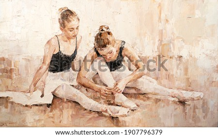 Young ballerinas in light pink tutus are preparing for their performances. The background is light beige. Oil painting on canvas.