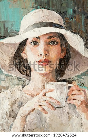 A girl in a white hat with a cup of coffee sits in a cafe.  Oil painting on canvas.