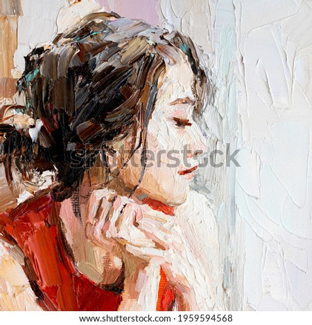 A girl in a red dress is sitting in a cafe. An elegant woman has breakfast in the morning in a cafe. Oil painting on canvas.