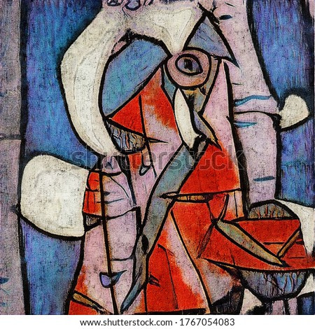 Surreal portrait. Modern abstraction in the style of cubism based on the works of Picasso. The painting is made in oil on canvas with cracks.