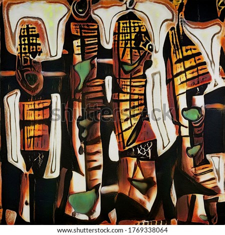Ethnic African motifs in the style of modern abstraction. The painting is done in watercolor on wet paper.