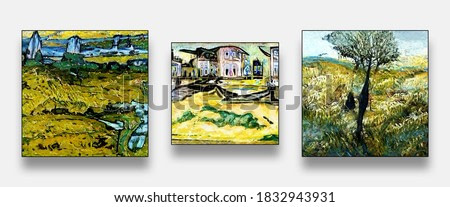 Surreal landscape with trees in the field. Modern abstraction based on the works of van Gogh. The painting is made in oil on canvas.