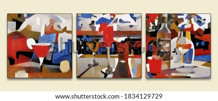 Triptych of modern painting. Alcohol and cocktails at the bar. The painting is made in oil on canvas in the style of abstraction.