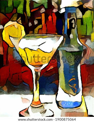 Alcohol and cocktails at the bar. The painting is made in oil on canvas in the style of abstraction.