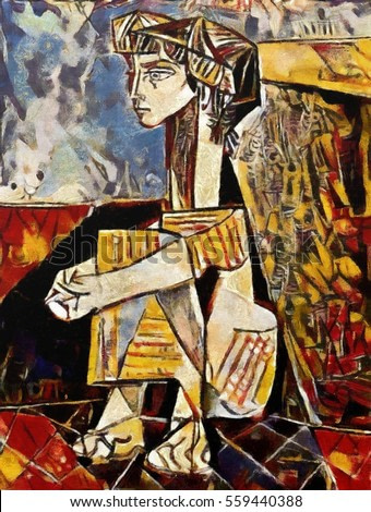 Girl Picasso. Improvisation artist, alternative reproduction of a world famous masterpiece in the style of cubism. Oil on canvas in combination with pastels. Suitable for interior or gift.