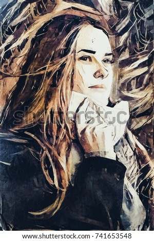 A face beautiful and young girl. There are hands in a magical mysterious way. Executed in oil on canvas in the style of modern abstraction.