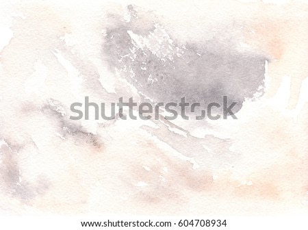Watercolor stains background. Orange and gray watercolor texture. Hand drawn abstract fill. It's perfect for postcards, business cards, posters, web design, packaging, etc.