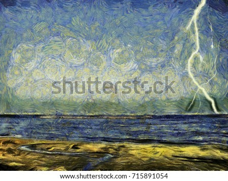 Lightning in the sky over the sea. Hand drawn painting picture. Van Gogh style.