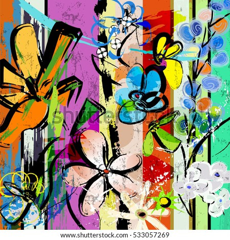 abstract background composition with flowers, with strokes, splashes and geometric lines