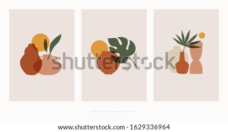 Set of compositions with exotic palm leaves and abstract vases. Trendy collage for design in an ecological style. Minimalist shapes in pastel colors on a light isolated background.