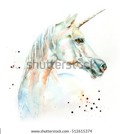 The watercolor portrait of blue and white unicorn isolated on white with watercolor drops