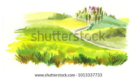 Italian landscape. Watercolor illustration