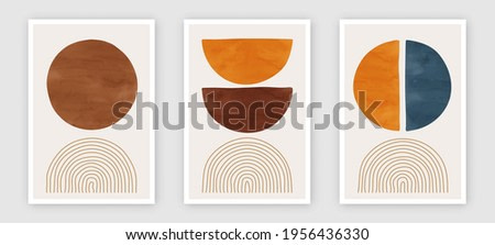 Trendy contemporary set of abstract art, creative minimalist hand painted compositions for wall decoration, postcard or brochure cover design in vintage style art.   EPS10 vector.