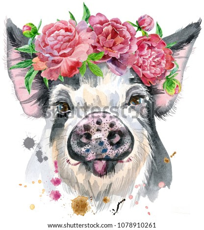 A beautiful pig in black spots in a wreath of peonies. Flowers. Watercolor illustration with splashes.