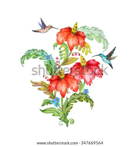 fancy flowers and birds for your design. watercolor painting