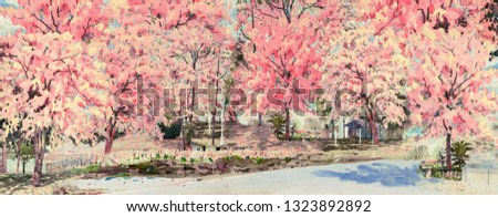 Spring flower of landmark. Painting watercolor landscape pink color of cherry blossom flowers roadside in village with blue sky background. Hand painted illustration beauty nature season in Thailand.